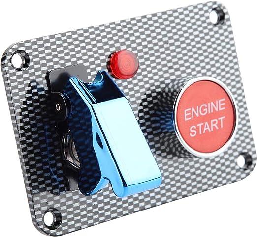con luce Pannello interruttore di accensione per auto da corsa pannello interruttori a levetta in fibra di carbonio 2 gruppi 1 coperchio blu per aeronautica 1 interruttore di accensione