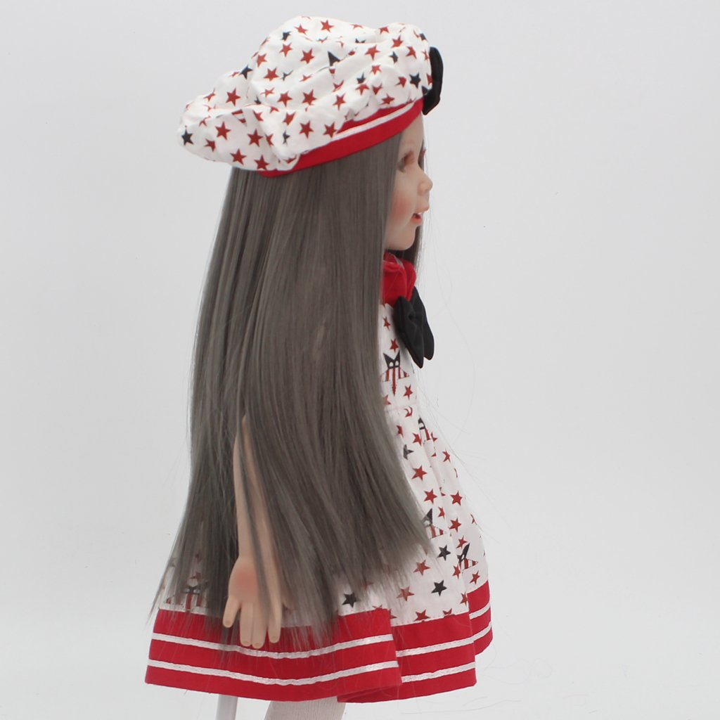 Toygogo 18inch American Doll Wig High-Temperature Wire Smoke Gray Middle Parting Style Hair 27-28cm Head Circumference