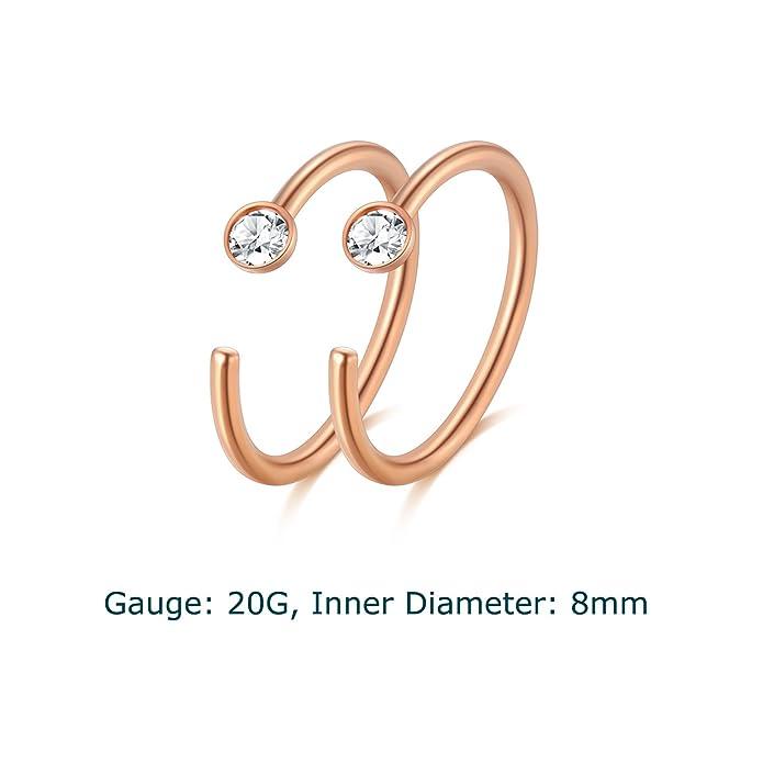 Amazon.com: vcmart 20 G 8 mm. Cartílago pendiente aro ...