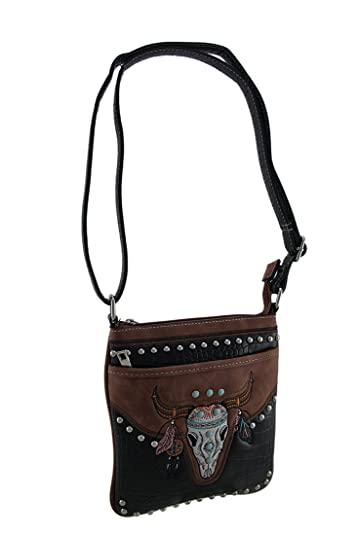 0dbff5d244df Amazon.com  Embroidered Southwest Steer Skull Studded Cross Body Purse   Shoes