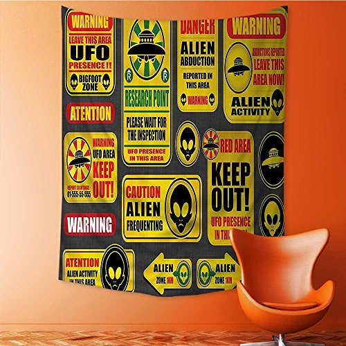 Wall Hanging 3D Printing Tapestry Warning Signs with Alien ces Heads Galactic Paranormal Activity Wall Tapestry for Dorm Living Room Bedroom 59L x 90.5W Inches by Nalahome