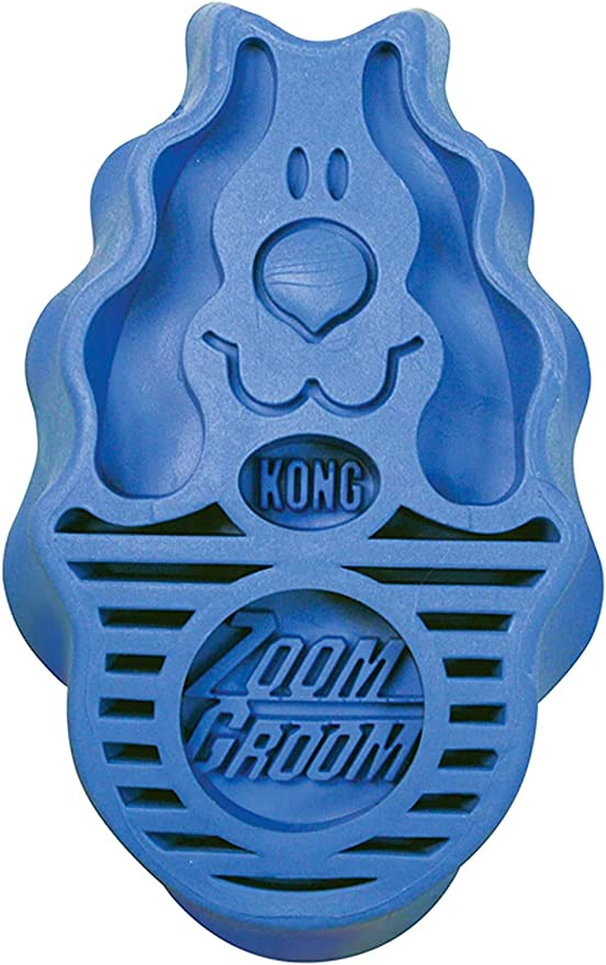 KONG - Zoom Groom Dog Brush, Groom and Massage While Removing Loose Hair and Dead Skin - Blue