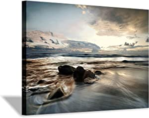 Canvas Wall Art Beach Picture: Rocky Wave Sunset Seascape Artwork Painting Print on Canvas for Wall Decor (36'' x 24'' x 1 Panel)