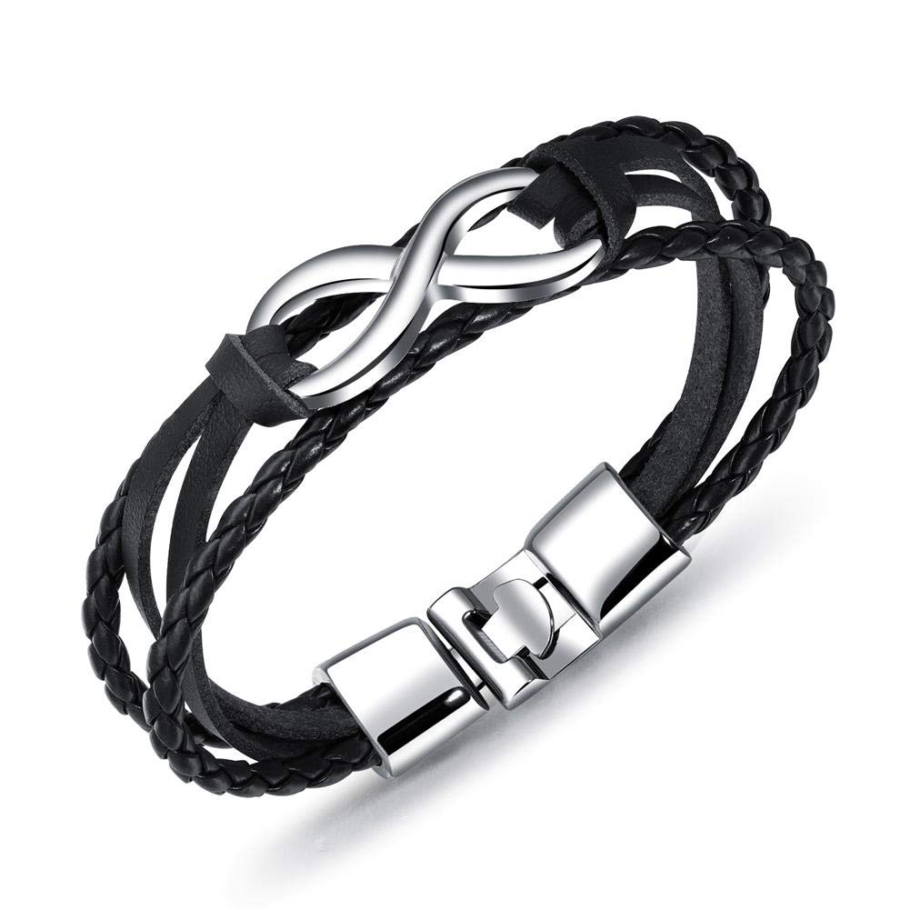 Febelle Couple Lovers Lucky Eight Leather Knit Bracelet