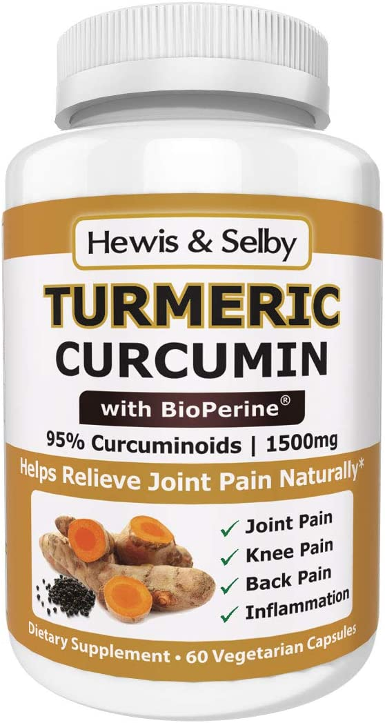 Hewis Selby Turmeric Curcumin 1500mg Capsules – 95 Standardized Curcuminoids Black Pepper – 60 Veggie Caps – Natural Joint Pain Relief Anti-Inflammatory – Made in USA