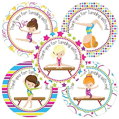 (Gymnastic Thank You Sticker Labels - Girl Kids Birthday Sport Party Favor Labels - Set of)