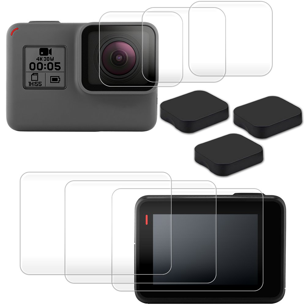 Screen Protector for GoPro Hero 6/5, AFUNTA 3 Packs Anti-Scratch Tempered Glass Screen Protector Film + Tempered Glass Lens Protection Film Accessory for Go Pro Hero6 Hero5 AF-6 x hero6 cover