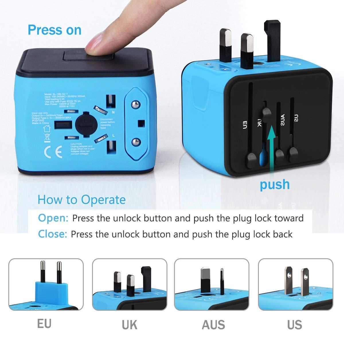 Travel Adapter, HAOZI International Power Adapter - 3 USB and 1 Type ...