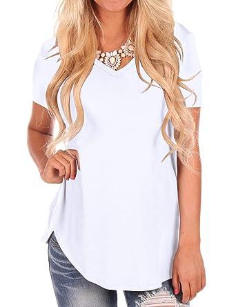 ff8271ea02d6 NIASHOT Women's Short Sleeve V-Neck Loose Casual Tee T-Shirt Tops at ...