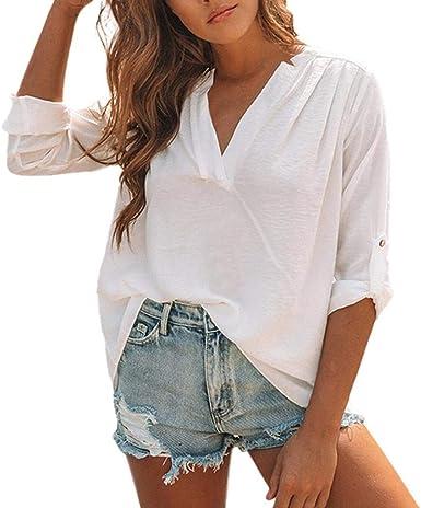 STRIR Camisas Mujer de Vestir, Blusa Cuello V de Manga Corta Irregular Verano, Blusa Tops Casual con Pliegues Sólidos (XL, Blanco): Amazon.es: Ropa y accesorios