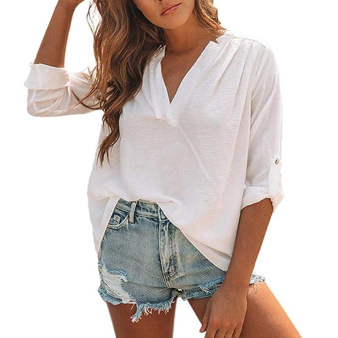 STRIR Camisas Mujer de Vestir, Blusa Cuello V de Manga Corta Irregular Verano, Blusa Tops Casual con Pliegues Sólidos: Amazon.es: Ropa y accesorios