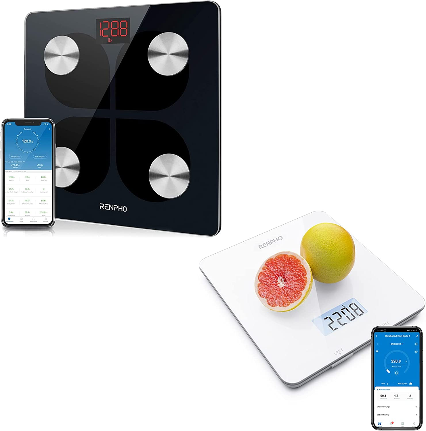 RENPHO Rechargeable Smart Scale, RENPHO Digital Food Scale, Kitchen Scale for Baking, Cooking and Coffee Scale with Nutritional Calculator for Keto