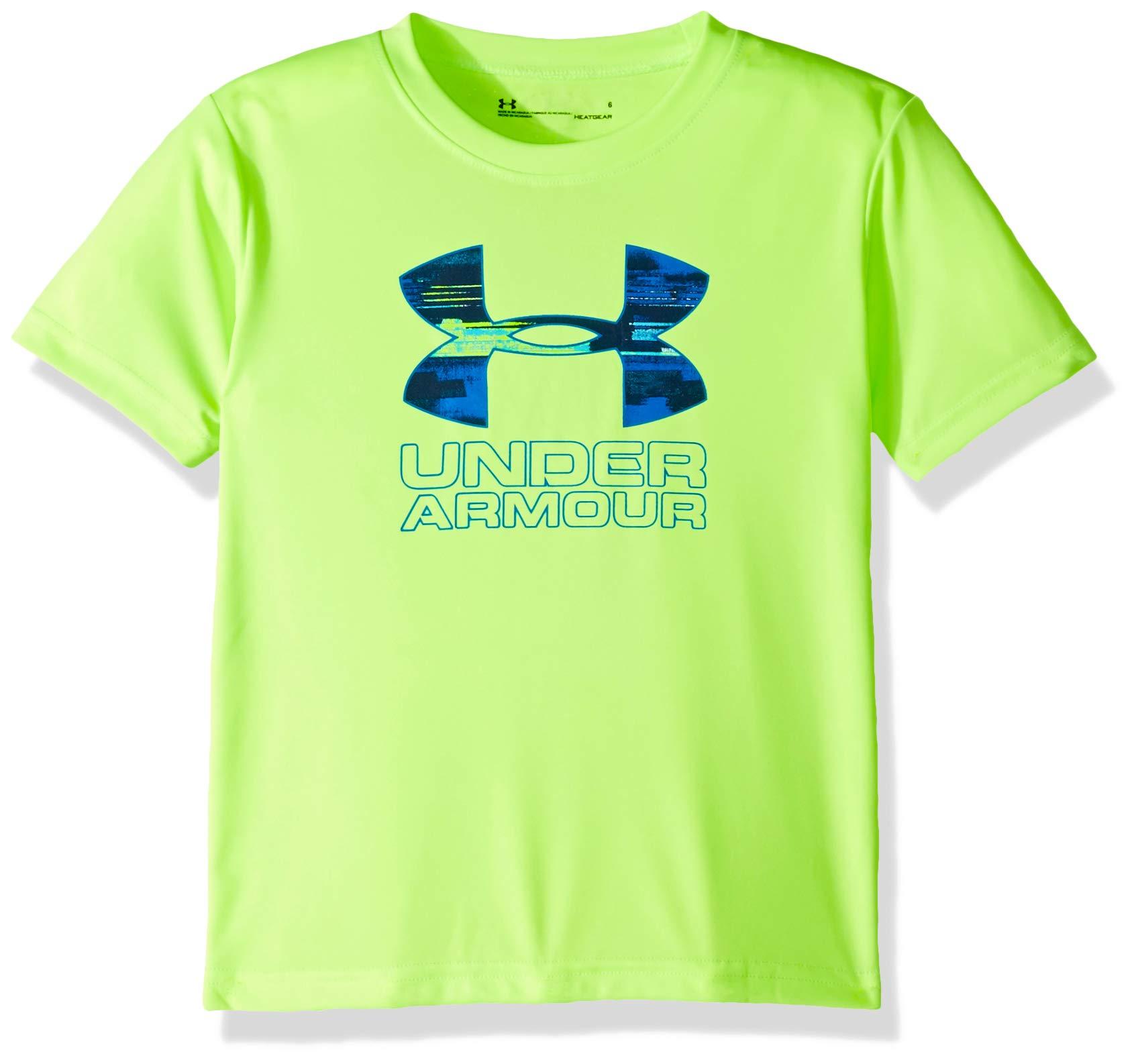 Under Armour Boys' Little Big Logo Short Sleeve Tee Shirt, Limelight-S19, 5