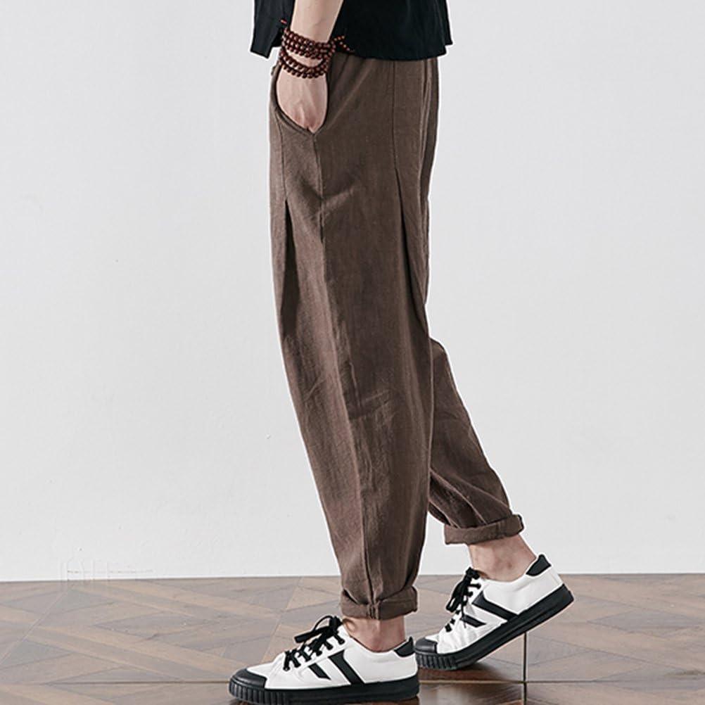 Zhhlinyuan Mens Harem Pants Summer Cozy Cotton Linen Aladdin Trousers for Womens