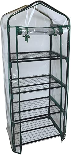 BBBuy 4-Tier Mini Greenhouse Portable Garden Grow Plants Flower Seedings Green House w PE Cover, Roll-Up Zipper Door and Metal Frame 27.25 L X 19 W x 63 H