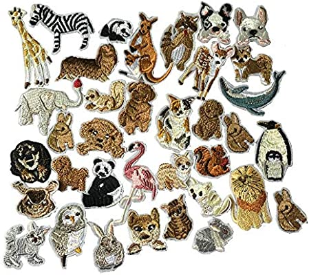 36pcs/Set Animals Patches Embroidered Iron On Patches Clothing DIY Stripes  Clothes Stickers Custom Badges