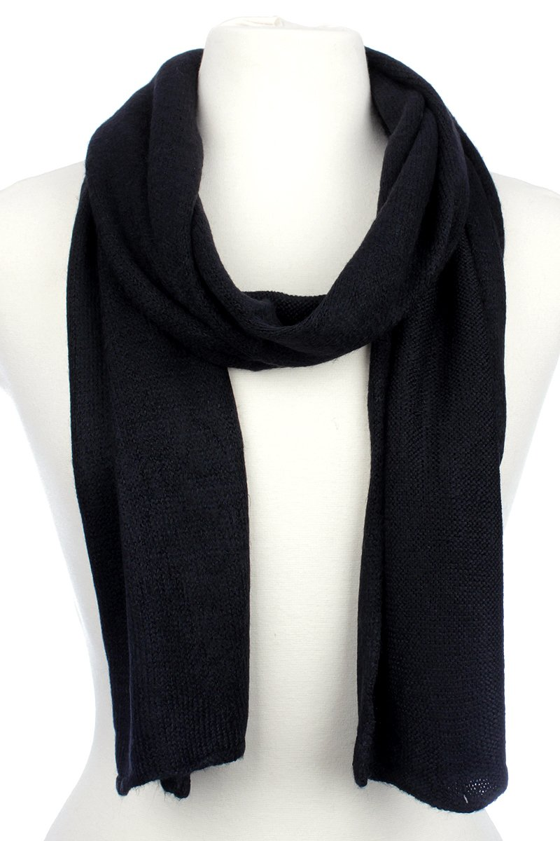 AN1225 Men's, Women's or Kids Basic Plain Knit Solid Color Scarf Muffler, Easy Neck Wrap (Black)