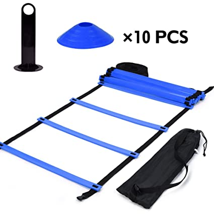 35d75ebe7 Image Unavailable. Image not available for. Color: Agility Ladder and Hurdle  Training Set, 19ft Flat Ladder with 10Pcs Cones Speed Training Exercise