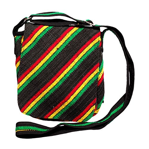 Silly Yogi Natural Hemp Reggae Stripe Eco Crossbody Purse-rasta festival travel sling bag