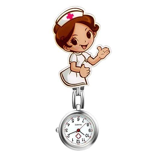 LANCARDO Reloj Médico de Bolsillo Colgante Enfermera Prendedor Broche Movimiento Cuarzo Clip Uniforme Paramédico Regalo Gracias Doctor Mujer Chica Niña: ...