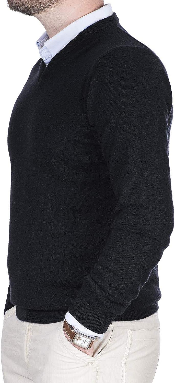 Cashmere Zone Maglione Uomo Scollo a V Puro Cashmere 100/% Made in Italy Lana Pullover a Manica Lunga con Girocollo Soffice e Morbido