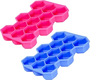 Hexagon Cells Ice Cube Tray, Durable Honeycomb Shaped Flexible Ice Trays with Lids, BPA-Free, Food Grade Silicone, Dishwasher Safe