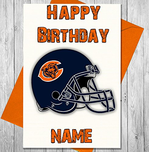 AKGifts American Football Chicago Bears - Personalised Birthday Card - Any name and age printed on the front (7 - 10 BUSINESS DAYS DELIVERY FROM UK)