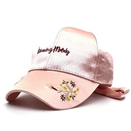 55bb9b8378d GAOJUAN Women s Hat Letters Baseball Cap Satin Flower Fashion Duck Tongue  Cap Summer Visor Quick Dry
