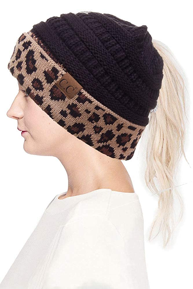 18f23bf0a20 ScarvesMe CC Women Classic Solid Color with Leopard Cuff Ponytail Messy Bun  Beanie Skull Cap at Amazon Women s Clothing store