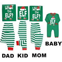Mikrdoo Family Matching Christmas Pajamas Sleepwear Letter Printed Long Sleeve Tops Green Striped Pajamas Pant Set