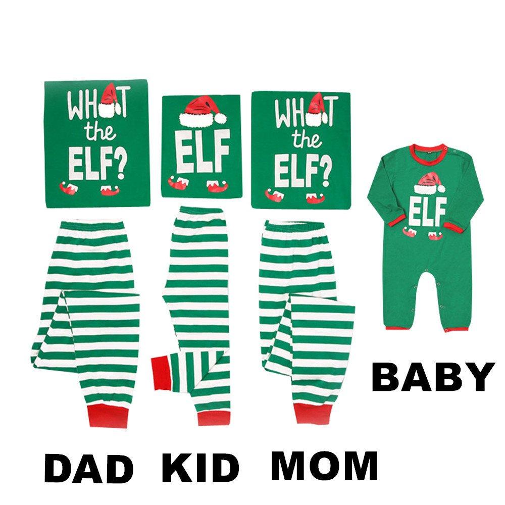 Mikrdoo Family Matching Christmas Pajamas Sleepwear Letter Printed Green Striped Pajamas Pant Set (S, Mom)