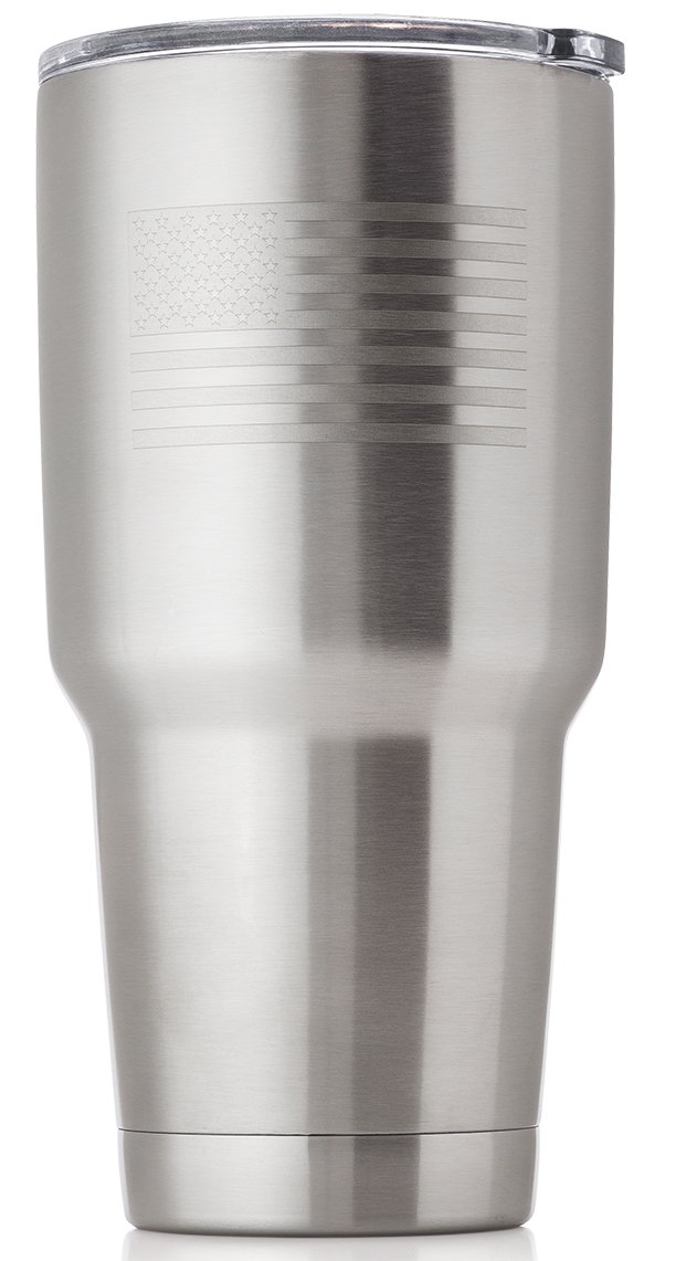 OUTZIE Vacuum Insulated American Flag Tumbler 30oz Built From 100% Food Grade Stainless Steel is Safe For All of Your Beverages - Hot or Cold - Etched American Flag Logo - made to last a lifetime