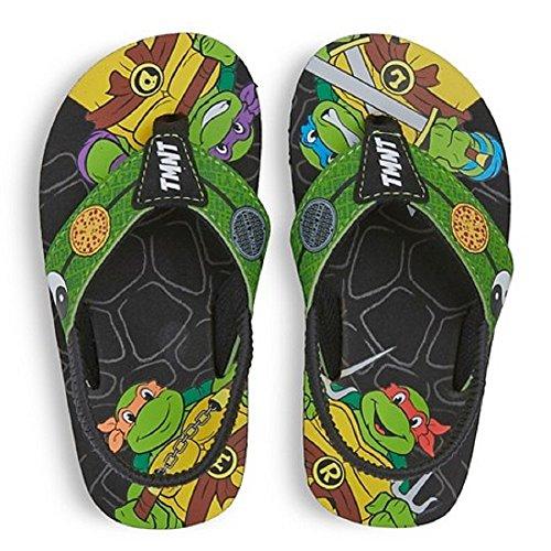 [Nickelodeon TMNT Teenage Mutant Ninja Turtles Children Toddler Flip Flop Sandals (Medium 7-8)] (Ninja Turtle Suits)
