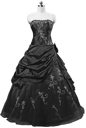 Snowskite Womens Strapless Embroidery Taffeta Puffy Princess Quinceanera Ball Gown Black 0