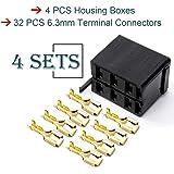 GIETOP GI1407 Lot/Sets 6.3mm 14-16AWG Female Gold Spade Terminal Connector + Rocker Switch Plug Connect Box Socket ARB Carlin