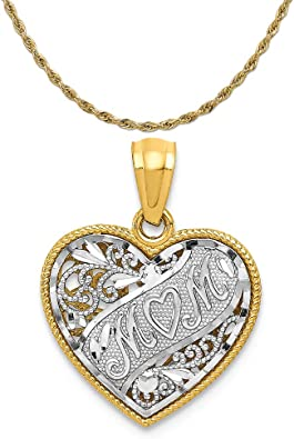 14k Two Tone Gold Reversible Mom Heart Pendant