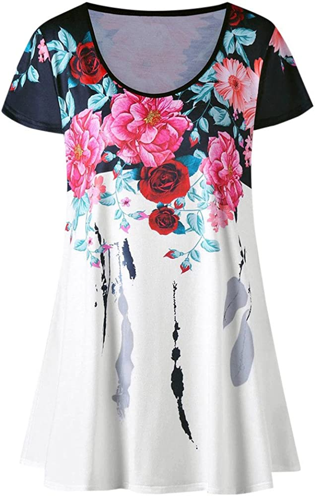 Rishine Womens Flowers Print Short Sleeve Blouse Casual Round Neck Crop Tank Loose Tunic Tops Tees