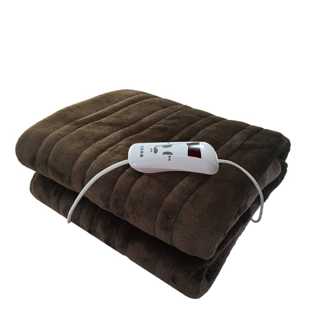 GX&XD Thicken Flannel Heated Blanket,Ultra-Soft Enlarge Plush Heated Throw Time and Temperature Control Electric Throw for Dorm Bedroom(Full Queen)-Brown 110x150cm(43x59inch)