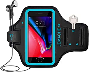 iPhone 7/8 Plus Armband, JEMACHE Gym Running Workout Exercise Pouch Phone Holder Arm Band Case for iPhone 6/6S/8/7 Plus Support Touch ID Access (Blue)