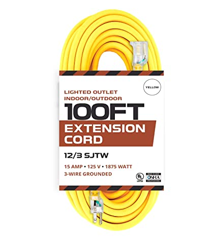 outdoor extension cord - 12/3 sjtw heavy duty yellow 3 prong extension cable  - great for garden and major appliances (100 foot - yellow) - - amazon com