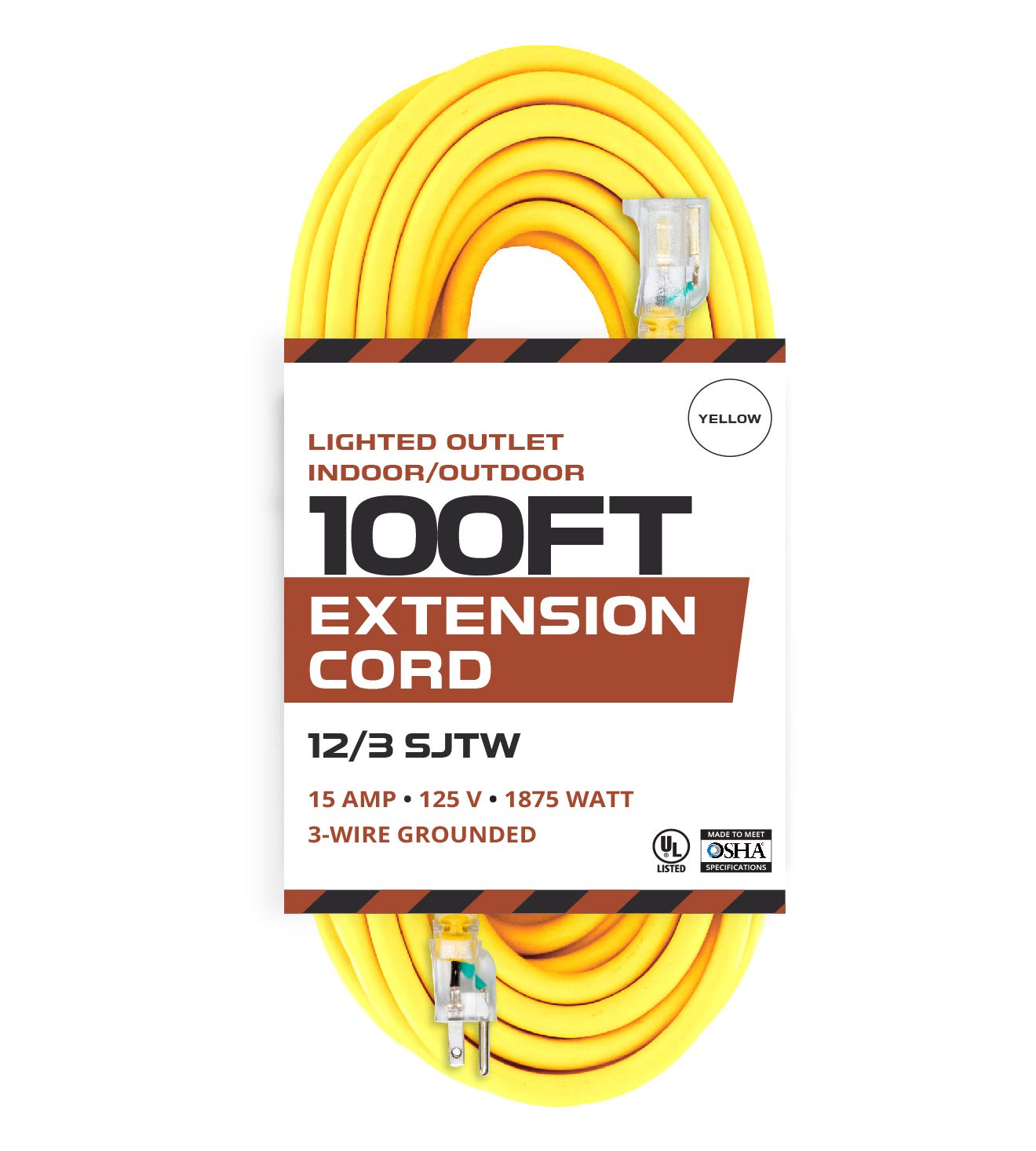 Outdoor Extension Cord - 12/3 SJTW Heavy Duty Yellow 3 Prong Extension Cable - Great for Garden and Major Appliances (100 Foot - Yellow)