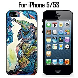 Trippy Elephant Art Custom Case/ Cover/Skin *NEW* Case for Apple iPhone 5/5S - Black - Rubber Case (Ships from CA) Custom Protective Case , Design Case-ATT Verizon T-mobile Sprint ,Friendly Packaging - Slim Case