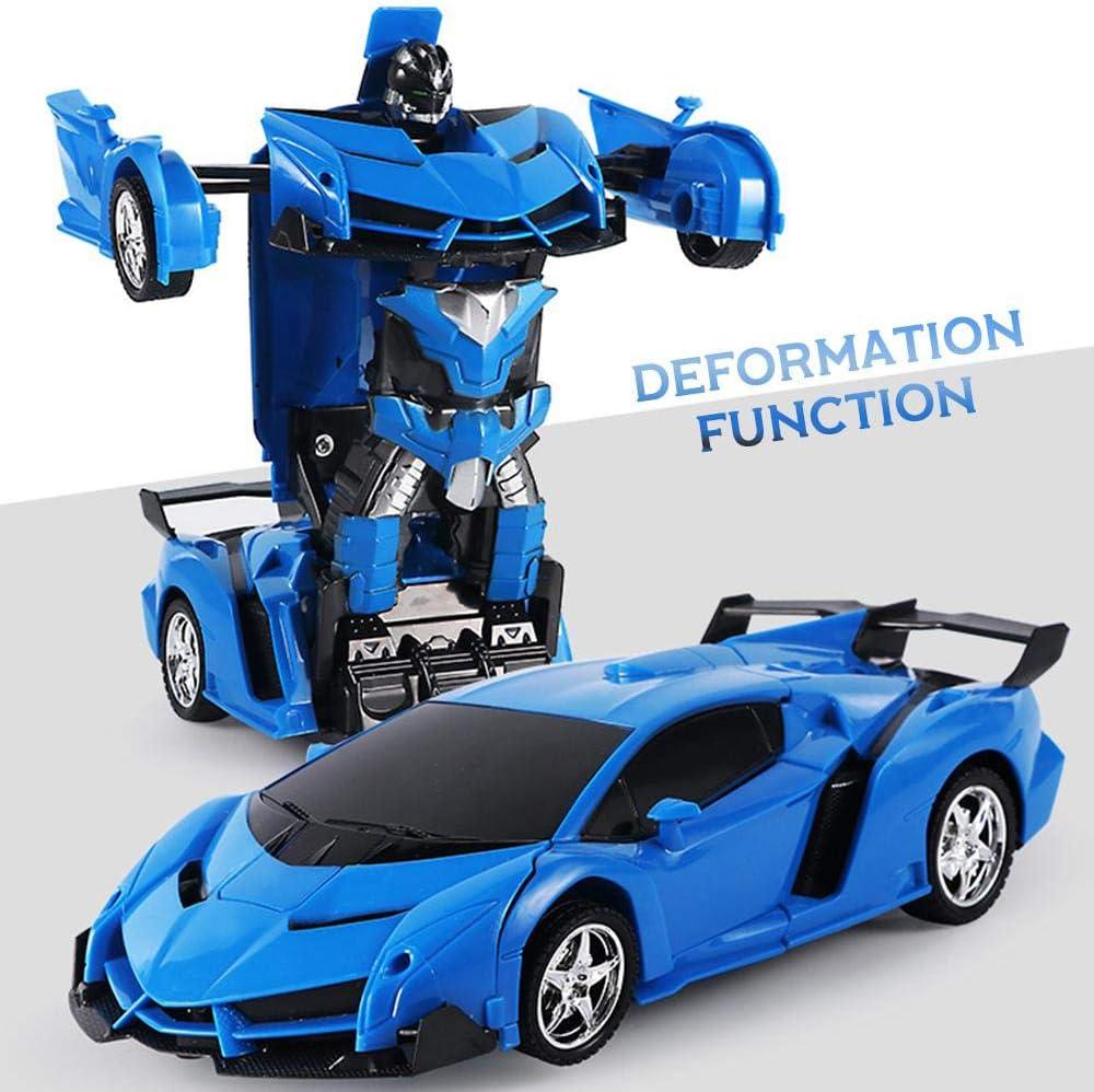 Volwco 2 In 1 Modellen Fernbedienung Verformung von Auto zu Robotermodus mit Ein-Knopf-Transformation und akustischem Licht Blau