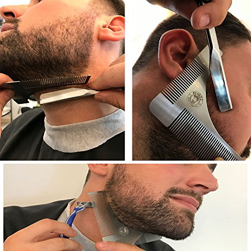 Beard Shaping Tool and Scissors Kit, Shaper and Styling Template Comb by BeardZ