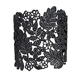 eManco Adjustable Vintage Lace Wide Cuff Bangles Bracelets for Women Black Plated Jewelry
