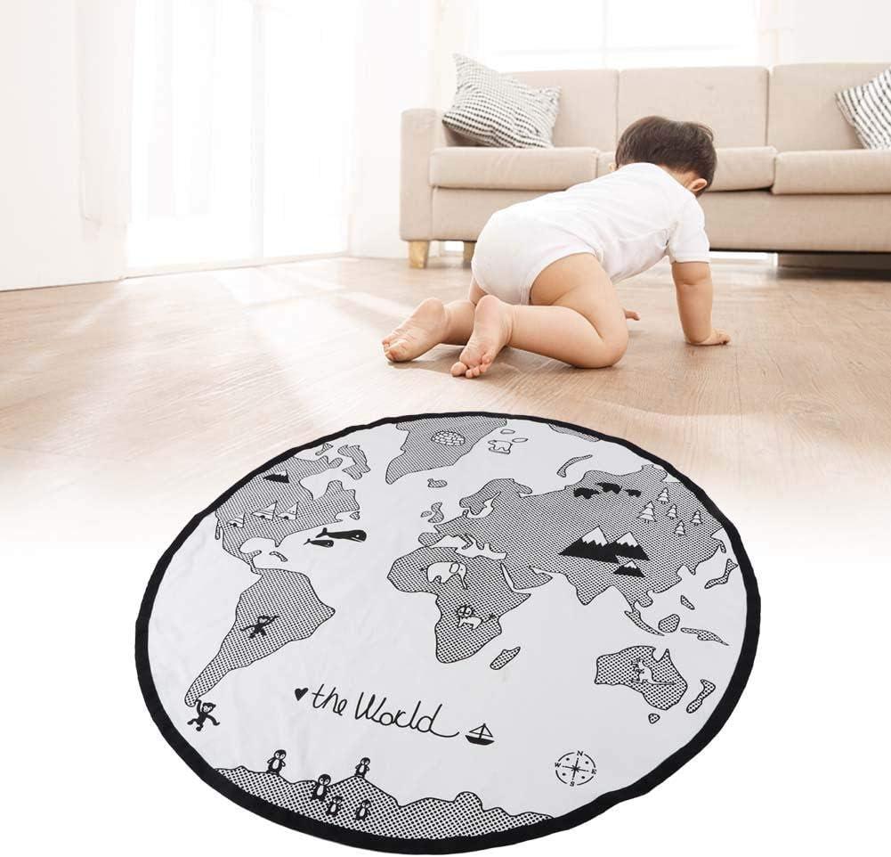 Zerodis Weltkarte Spiel Pad Kinderzimmer Abenteuer P/ädagogisches Lernen Baby Runden Teppich Krabbeln Spielmatte Teppich