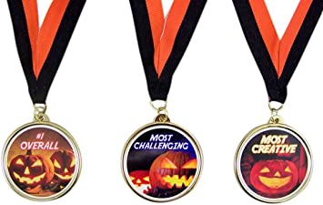 First Place Halloween Pumpkin Carving Contest Award Medals Most Creative Pack of 3 Most Challenging