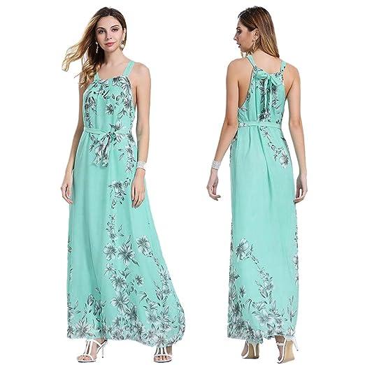 6404bdf1b84 Amazon.com  TiTCool Womens Sleeveless Boho Dress Ladies Floral Print Summer  Strappy Long Maxi Dress  Clothing
