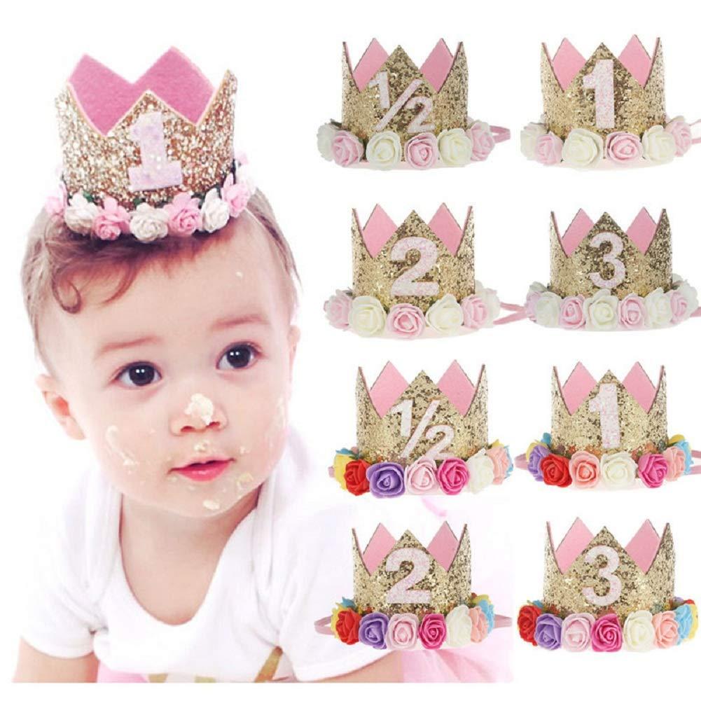 Lomire® Bandeaux cheveux bébés, Bandeaux d'anniversaire pour bébé filles, serre-tête élastique de couronne impériale pour petites filles, accessoires mignons pour enfants bébés filles (E)