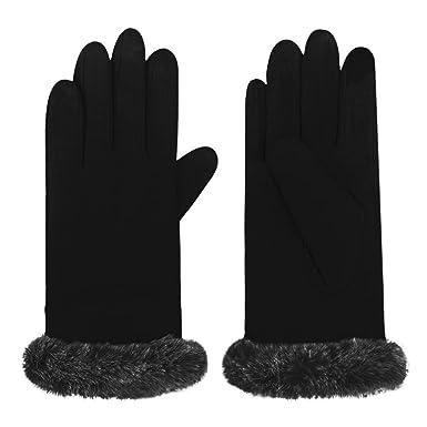eeb6f86b4b0008 Elegante Damen Handschuhe, Wolle Fäustlinge Warm Touchscreen Handschuhe  Radfahren Outdoor Für einen Warmen Winter Schwarz